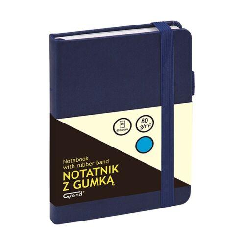 Jegyzetfüzet GRAND A/6 80 lapos puha sötétkék kockás