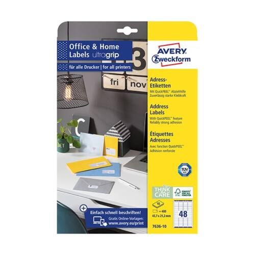 Etikett AVERY 7636-10 45,7x21,2mm 480 címke/doboz 10 ív/doboz