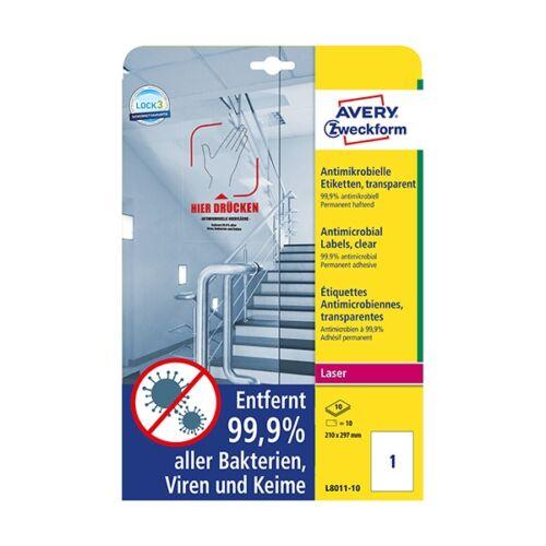 Etikett AVERY L8011-10 210x297mm antimikrobiális átlátszó 10 címke/doboz 10 ív/doboz