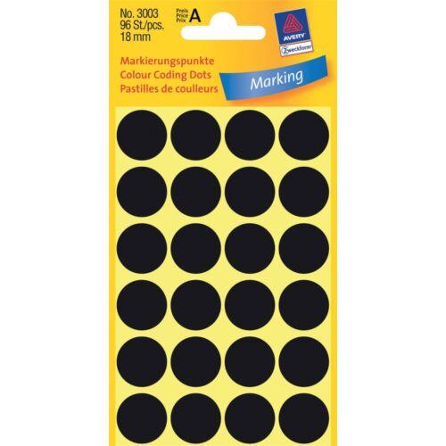 Etikett AVERY 3003 jelölőpont 18 mm fekete 96 címke/doboz 4 ív/doboz