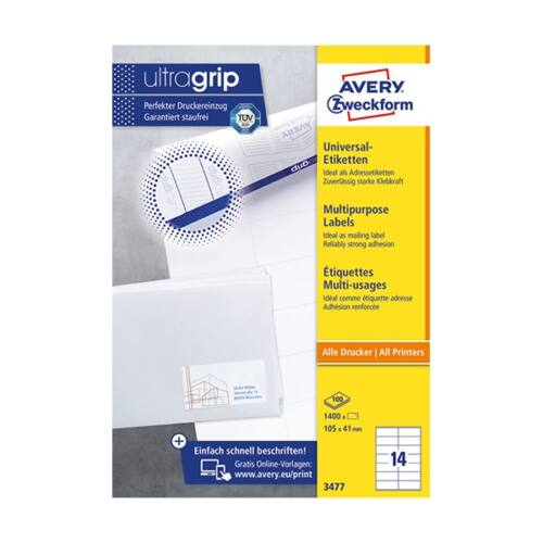 Etikett AVERY 3477 105x41 mm fehér univerzális 1400 címke/doboz 100 ív/doboz