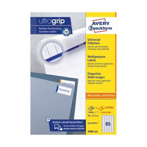 Etikett AVERY 3666-200 38x21,2 mm fehér univerzális 14300 címke/doboz 200+20 ív/doboz