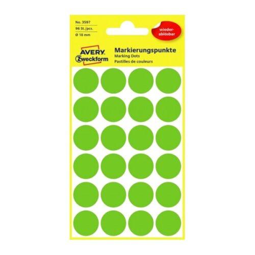 Etikett AVERY 3597 öntapadó jelölőpont zöld 18mm 96 jelölőpont/csomag