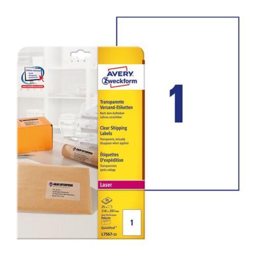 Etikett AVERY L7567-25 210x297mm laser átlátszó 25 címke/doboz 25 ív/doboz