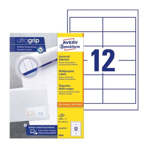 Etikett AVERY 3659 97x42,3mm univerzális fehér 1200 címke/doboz 100 ív/doboz