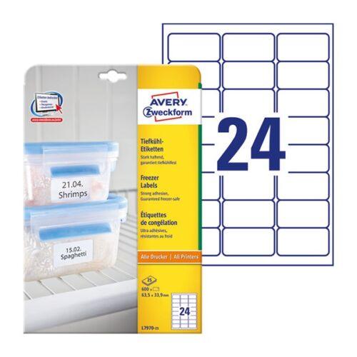 Etikett AVERY L7970-25 63,5x33,9mm univerzális fagyasztó 600 címke/doboz 25 ív/doboz