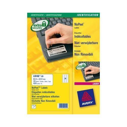 Etikett AVERY L6146-20 63,5x33,9mm laser biztonsági 480 címke/doboz 20 ív/doboz